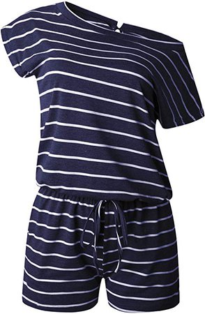 Amazon.com: ANRABESS Women's Summer Short Sleeve Striped Jumpsuit Rompers with Pockets Short Pant Rompers Playsuit: Clothing