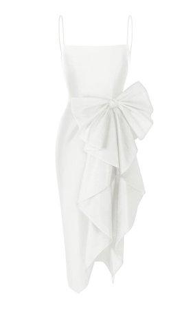 Bow-Embellished Silk Midi Dress By Rasario Bridal | Moda Operandi