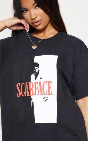 Black Scarface Printed Oversized T Shirt   PrettyLittleThing