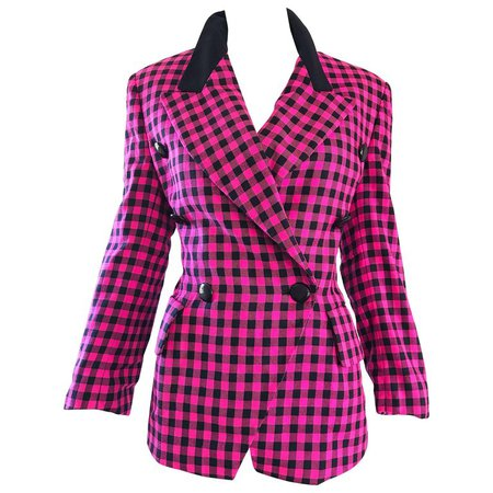 Vintage Escada by Margaretha Ley 1990s Hot Pink + Black Double Breasted Blazer For Sale at 1stdibs