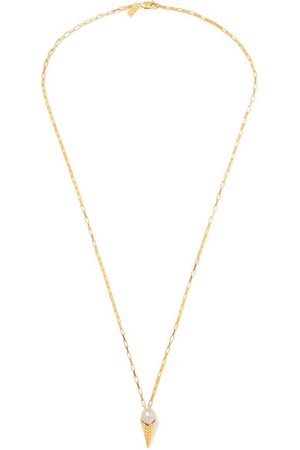 Pernille Lauridsen | Gold-plated pearl necklace | NET-A-PORTER.COM
