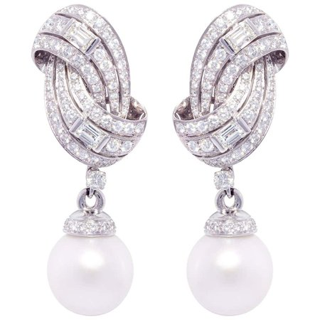 Ella Gafter South Sea Pearl and Diamond Drop Earrings For Sale at 1stDibs