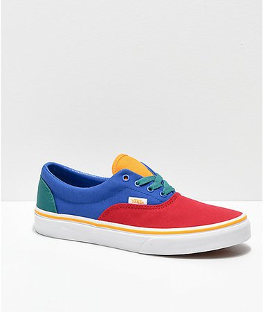 Vans Era Red, Blue & Yellow Skate Shoes | Zumiez