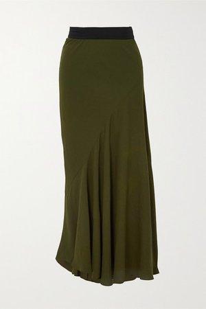 Asymmetric Pleated Crepe Midi Skirt - Dark green