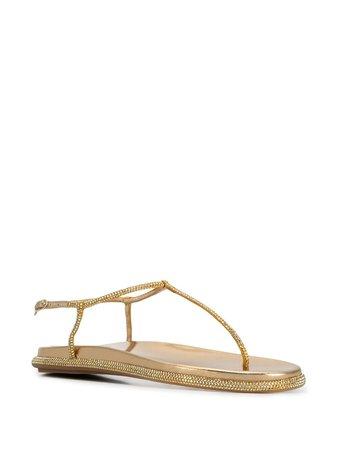 René Caovilla Embellished T-bar Sandals