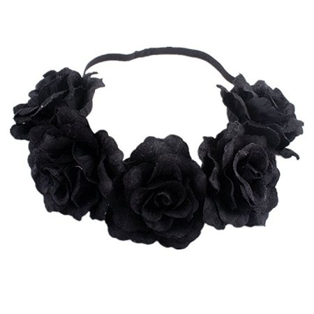 Amazon.com: DreamLily Rose Flower Crown Wedding Festival Headband Hair Garland Wedding Headpiece (1-Burgundy): Clothing