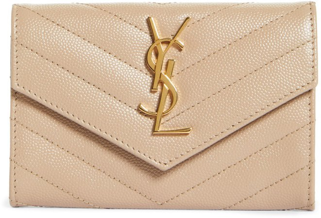 'Monogram' Quilted Leather French Wallet