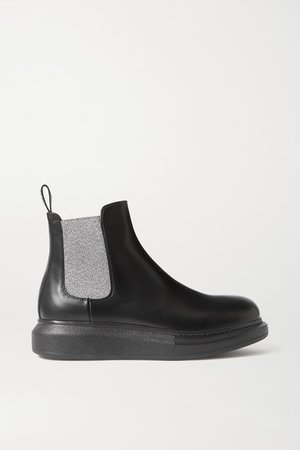 Glossed-leather Exaggerated-sole Chelsea Boots - Black