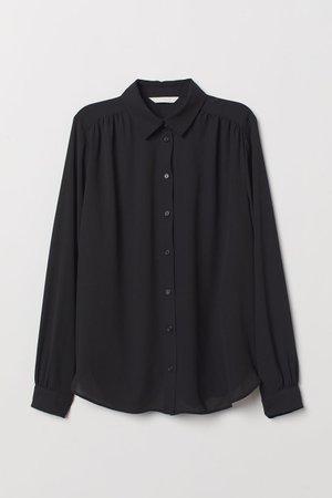 Long-sleeved Blouse - Black - | H&M US