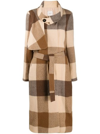 Brown & neutral Alysi checked belted coat - Farfetch