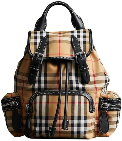 yellow, black and white the small rucksack in vintage check and leather bag