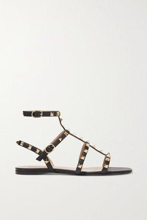 Black Valentino Garavani Rockstud leather sandals | Valentino | NET-A-PORTER