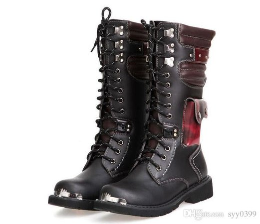 black and red combat boots