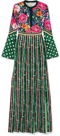 Desmine Printed Satin Maxi Dress - Green