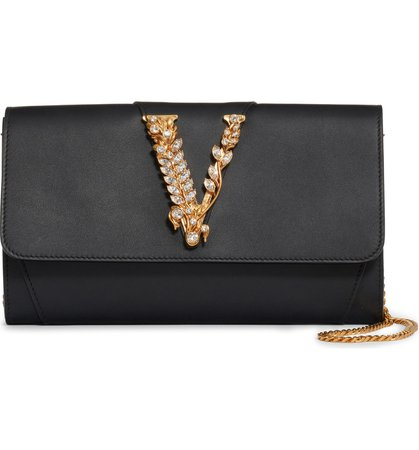 Versace First Line Virtus Leather Clutch | Nordstrom