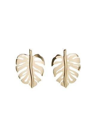MANGO Leaf earrings