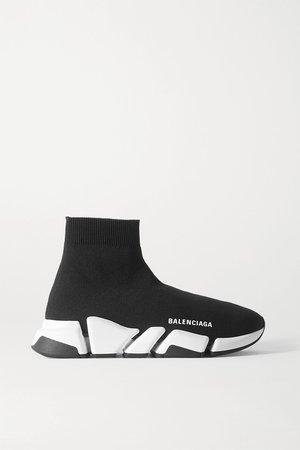 Black Speed 2.0 logo-print stretch-knit high-top sneakers | Balenciaga | NET-A-PORTER
