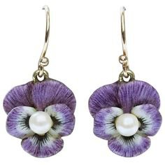 (6) Pinterest - Preowned Art Nouveau Purple Enamel Pansy Earrings ($1,650) ❤ liked on Polyvore featuring jewelry, earrings, purple, dangle | My Polyvore Finds