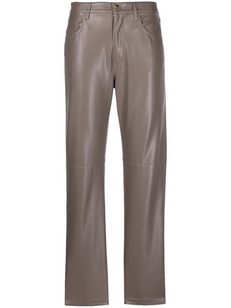 Nanushka faux-leather straight-leg Trousers - Farfetch