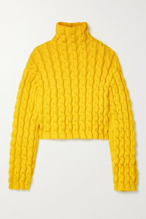 Yellow Cropped cable-knit turtleneck sweater | Balenciaga | NET-A-PORTER