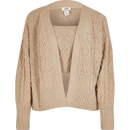 Cream knitted cardi and bralet set   River Island