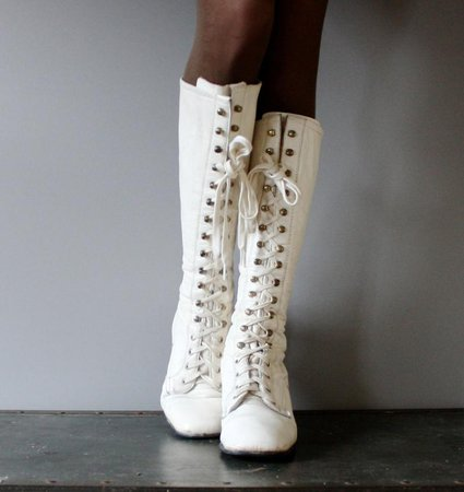 Tall Lace Up Vintage White Boots Leather RARE GO GO Style 60s   Etsy