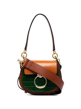 Chloé Tess Panelled Crocodile-Effect Shoulder Bag | Farfetch.com