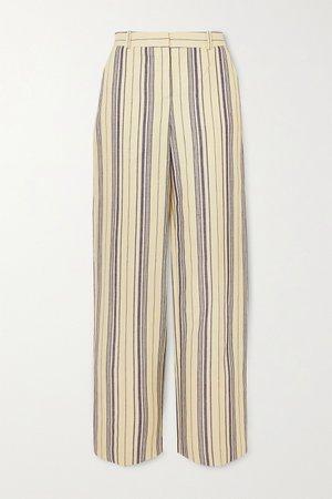Light blue Striped cotton-blend straight-leg pants | Loro Piana | NET-A-PORTER