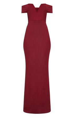 Burgundy Bardot V Plunge Maxi Dress | PrettyLittleThing USA