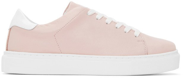 Pink and White Square Toe Sneakers