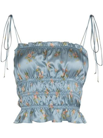 Shop blue Reformation Viviana floral-print top with Express Delivery - Farfetch