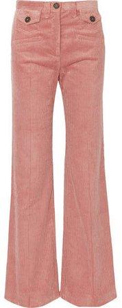Cotton-blend Corduroy Bootcut Pants - Pink