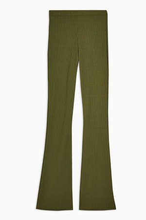 Khaki Ribbed Jersey Flare Trousers | Topshop