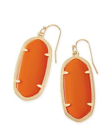 Elle Gold Drop Earrings In Orange | Kendra Scott