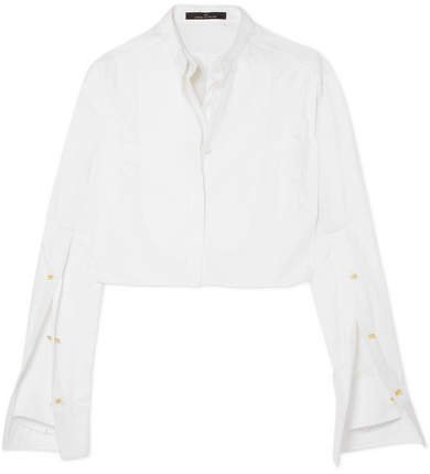 Embellished Cropped Cotton-poplin Shirt - White