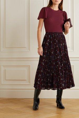 Burgundy Ribbed-knit top   MICHAEL Michael Kors   NET-A-PORTER