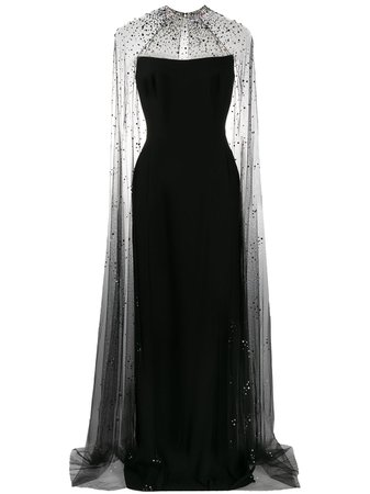 Jenny Packham Pearle Embellished Cape Gown - Farfetch