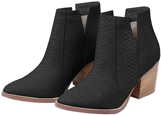 Mafulus Womens Snakeskin Booties Pointed Toe V Cut Slip on Stacked Heel Ankle Boots