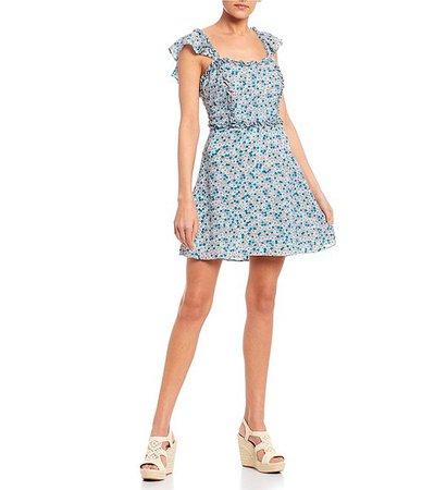 B. Darlin Square Neck Ruffle Trim Ditsy Floral Dress | Dillard's