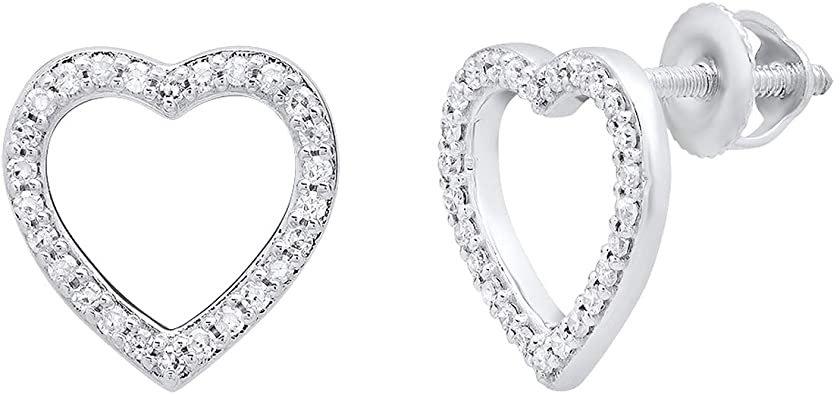 Amazon.com: 0.15 Carat (ctw) 14K Round White Diamond Ladies Heart Shaped Stud Earrings, White Gold: Jewelry