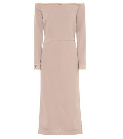 Off-the-shoulder crêpe midi dress