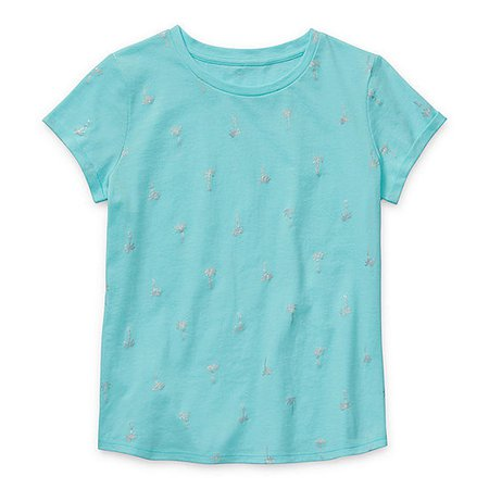 Arizona Little & Big Girls Round Neck Short Sleeve Graphic T-Shirt - JCPenney