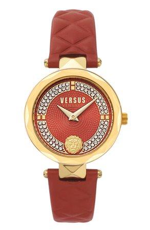 VERSUS Versace Covent Garden St. Valentine Leather Strap Watch, 32mm | Nordstrom