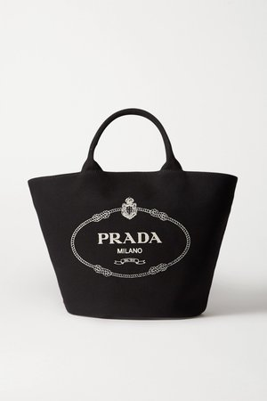 Black Leather-trimmed printed cotton-canvas tote | Prada | NET-A-PORTER