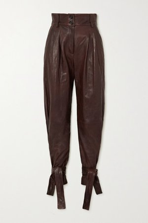 Tie-detailed Leather Tapered Pants - Brown