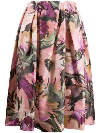 Comme Des Garçons Floral Print Full Midi Skirt - Farfetch