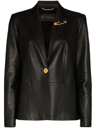 Versace Safety Pin-Embellished Leather Blazer A85481A210037 Black | Farfetch