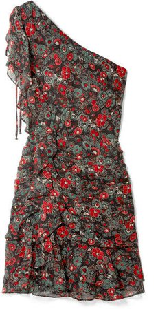 Ballard One-shoulder Ruffled Floral-print Silk-chiffon Mini Dress - Charcoal
