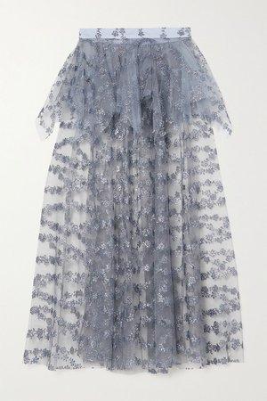 Blue Glittered tulle peplum midi skirt | Rodarte | NET-A-PORTER