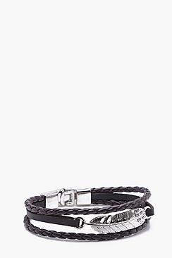 Leather Look Feather Bracelet